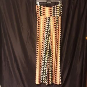 Honey and Lace Pacific Palazzo Pants Coral & BLACK